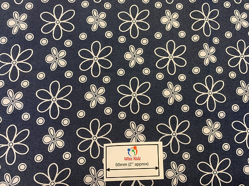 1161 White Flowers on Blue Denim Effect Fabric