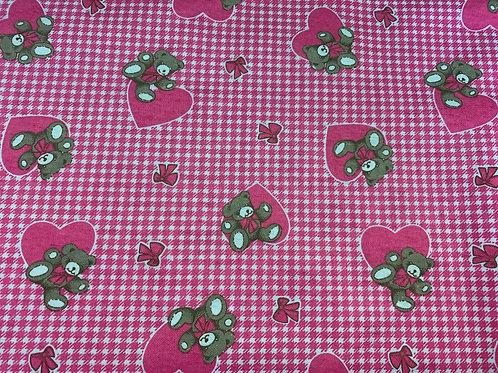 1259 Pink bear brushed cotton