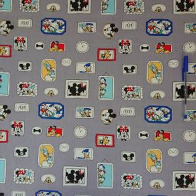 1640 Mickey's Pals Silver - 100% Cotton