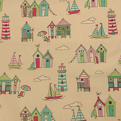 1505 Beach Hut and Lighthouse Candy 100% Cotton
