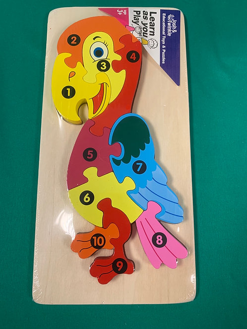 Parrot wooden number puzzle