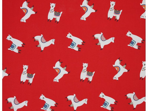 1453 Llamas Red Polycotton