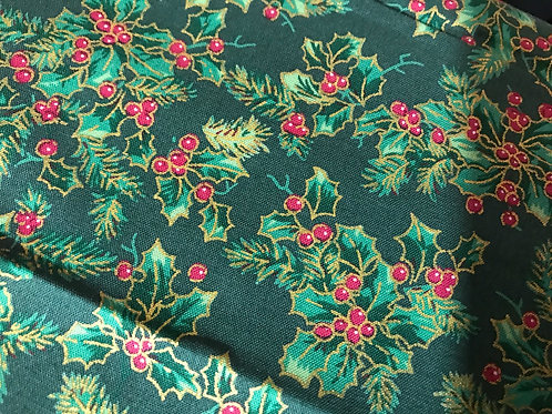 1265 Large holly print with gold Green 100% cotton