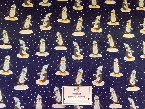 1329 Winter Penguin on Blue Polycotton