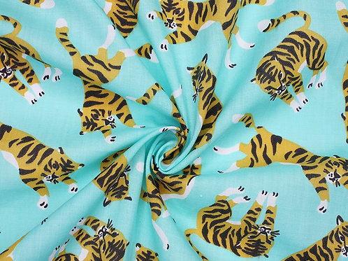 1541 Tigers Polycotton - Aqua