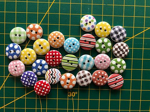 1580 - 15mm Random Pattern Buttons - Wooden
