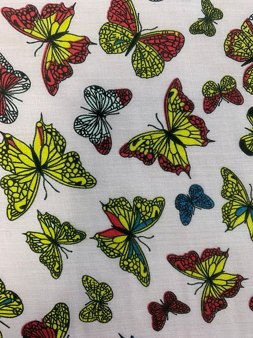 1121 Butterflies on pink background polycotton