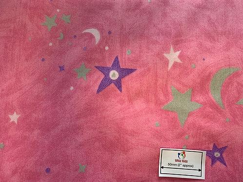 1386 Superstar Silver Stars on Pink 100% Cotton