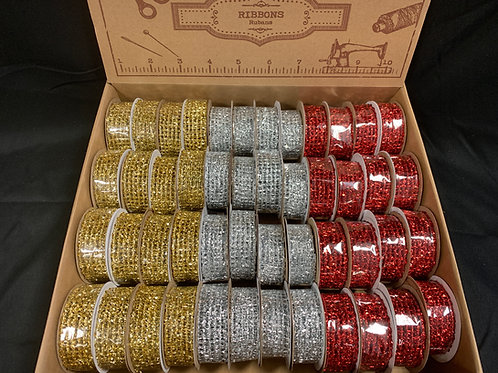 1391 Metallic mesh ribbon