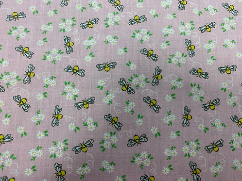1801IP Buzzy bee pink fabric