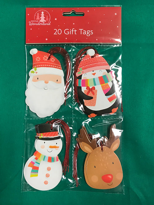 1308 Christmas Character Tie-on Gift Tags