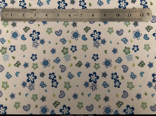 1116 Blue heart/flower polycotton fabric