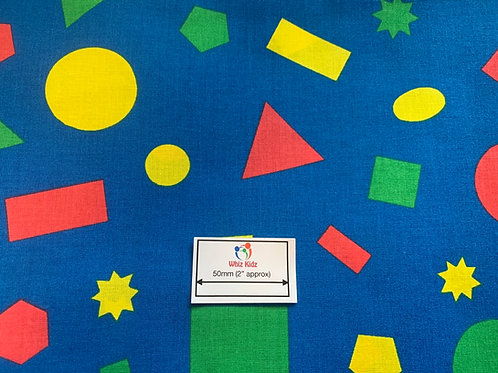 1384 Blue with Coloured Shapes 100% cotton