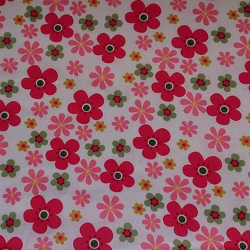 1561 Flower Power Pink Polycotton