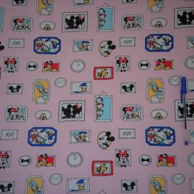 1641 Mickey's Pals Pink - 100% Cotton