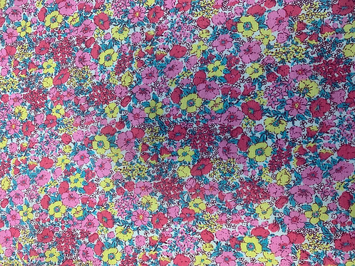 PYF004 Dark Pink & Yellow Flower Fabric