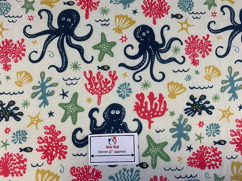 1156 Octopus on cream polycotton