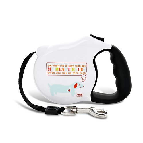 Avant Garde Retractable Leash- My Heart Races (M)