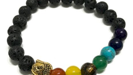 Buddha Chakra Lava Stone Bracelet