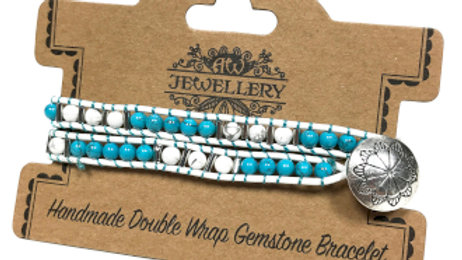 Turquoise and White Agate Double Wrap Bracelet
