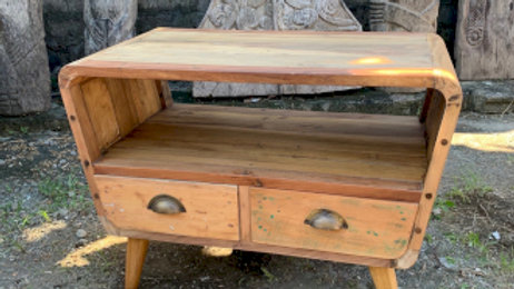 Small TV Stand with 2 Draws Round - Recycled Wood