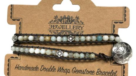 Amazonian and Flower Detail Double Wrap Bracelet