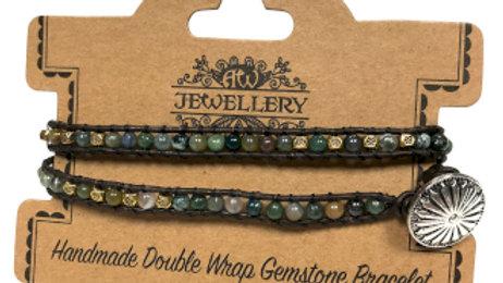 Multi Moss Agate Double Wrap Bracelet