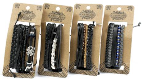 Black Leather Bracelet Set