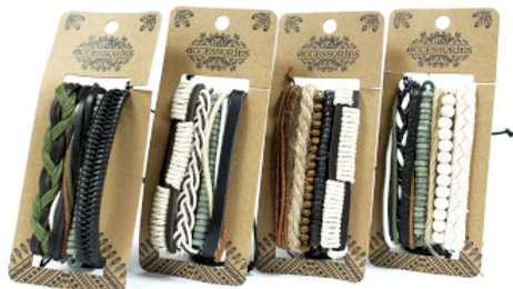 Green and Natural Leather Bracelet Set