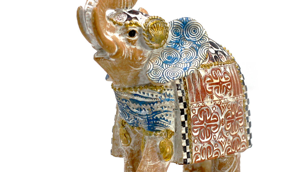 Thai Elephant - Good Luck - Terraccotta & Sky Blue 14 cm