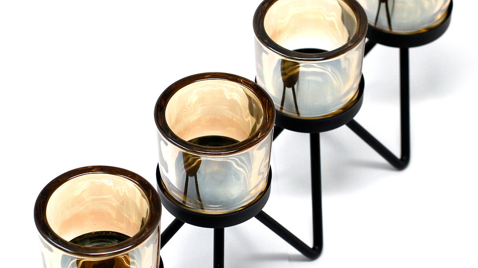 Centrepiece Iron Votive Candle Holder - 3 Cup Ledge