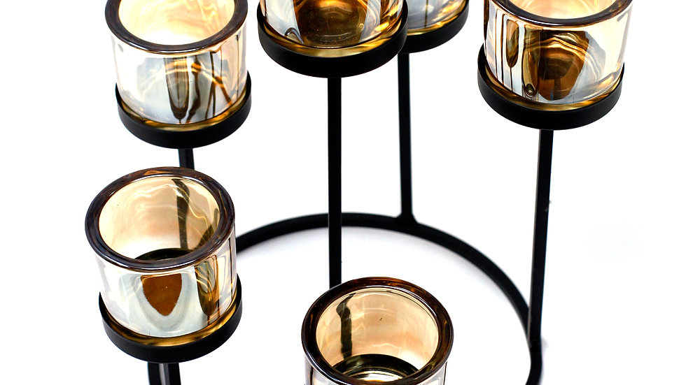 Centrepiece Iron Votive Candle Holder - 6 Cup Circle Tree
