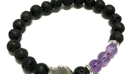 Fish Amethyst Lava Stone Bracelet
