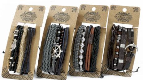 Metal and Leather Bracelet Set