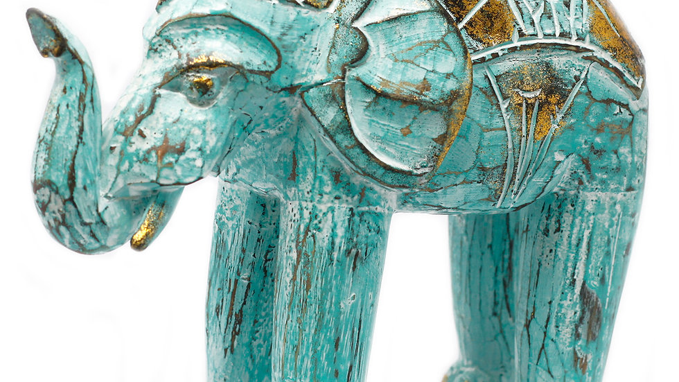Wood Carved Elephant - Turquois Gold 24 cm