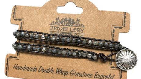 Grey Stone and Mini Globes Double Wrap Bracelet