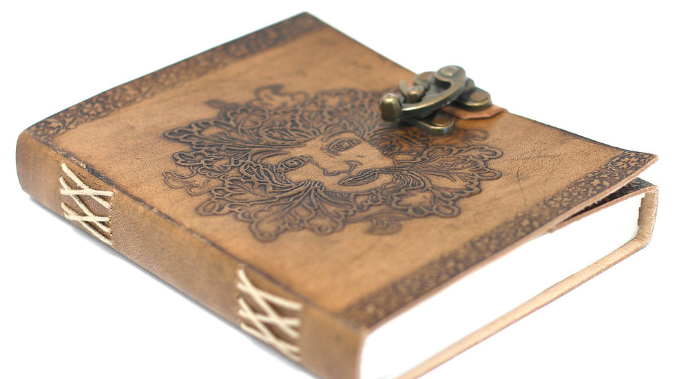 Leather Greenman Notebook 6x8""