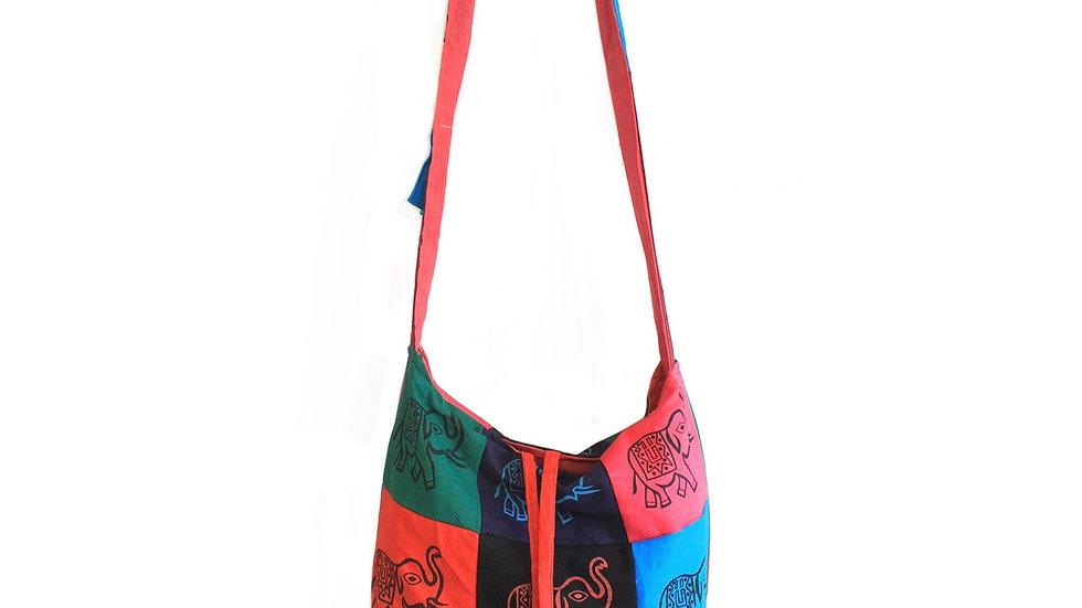 Elephant Cotton Patch Sling Bag