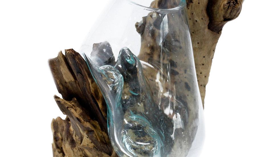 Handing Bowl Molten Glass on Wood