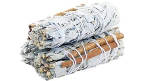 White Sage and Cinnamon 10cm Smudge Stick