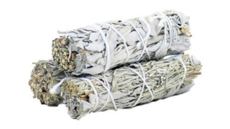 White Sage and Blue Sage 10cm Smudge Stick