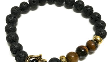 Hamsa Tiger-eye Lava Stone Bracelet