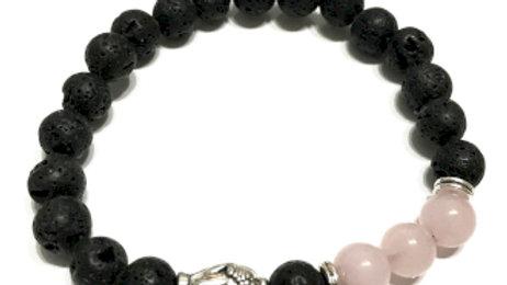 Buddha Rose Quartz Lava Stone Bracelet