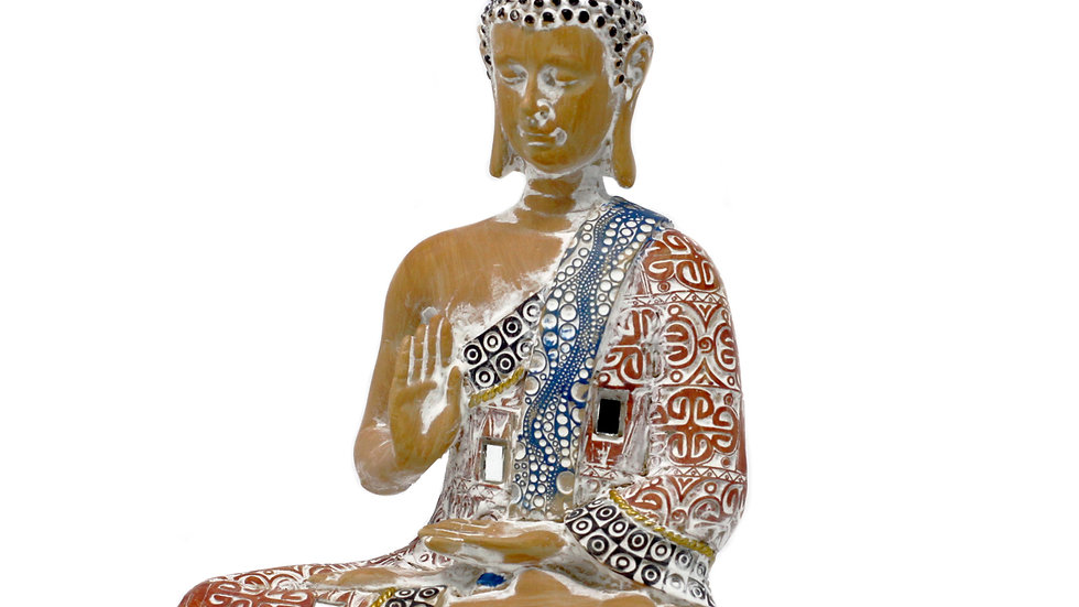 Thai Buddha - Protection - Terraccotta & Sky Blue 20 cm