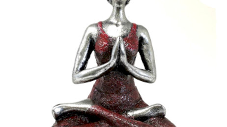 Yoga Lady Figure - Silver & Bordeaux 24cm