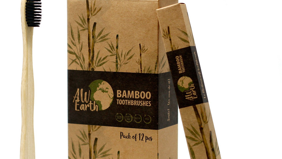1 x Bamboo Toothbrush - Charcoal Medium Soft