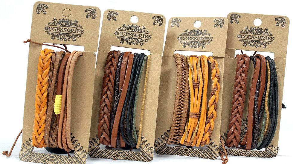 Tanned Leather Bracelet Set