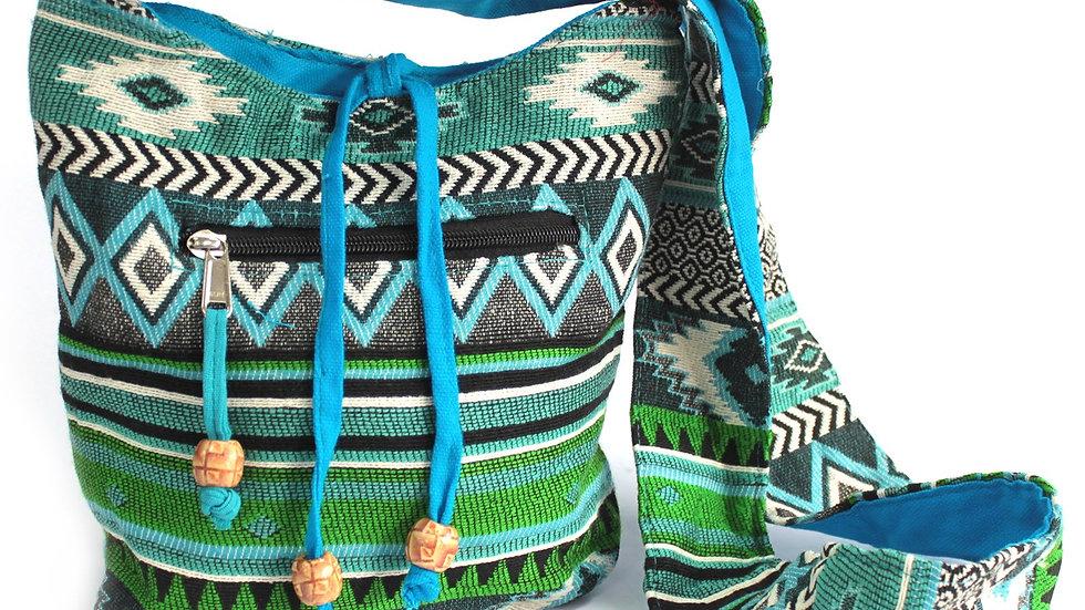 Teal Jacquard Sling Bag