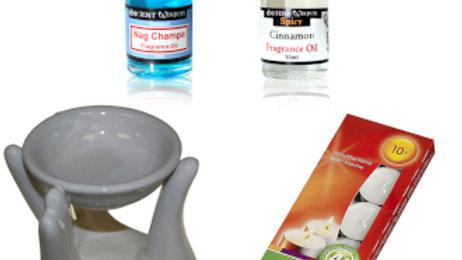 Oil Burner Kit Nag Champa and Cinnamon