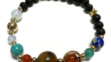 Gold Solar System Lava Stone Bracelet